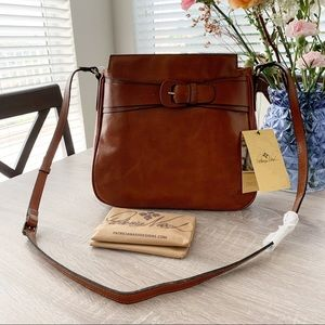 Patricia Nash Leather Buckle Tan Antilly Purse